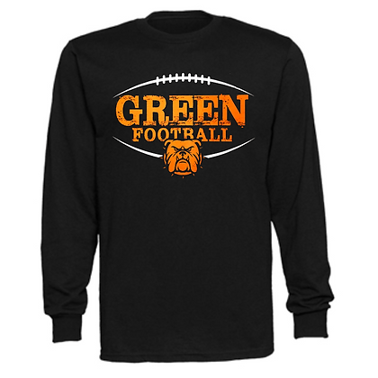 Green Bulldogs Football Logo #41 Unisex Long Sleeve T-Shirt