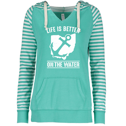 Life Is Better On The Water Ladies Striped Fleece Pullover Hood (Glitter Drop In