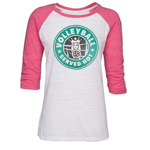95216575a Gameday Sportswear Volleyball Served Hot (Black) Women's Baseball Tee