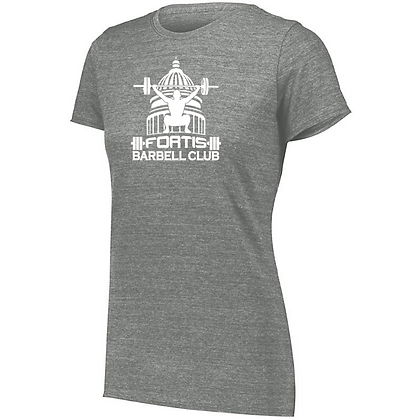 Fortis Weightlifting Barbell Club (White Logo) Ladies Tri-blend T-Shirt