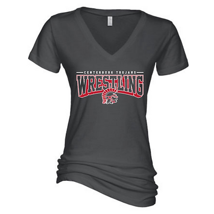 Centerbrug Trojans Wrestling Charcoal Ladies Short Sleeve V-Neck