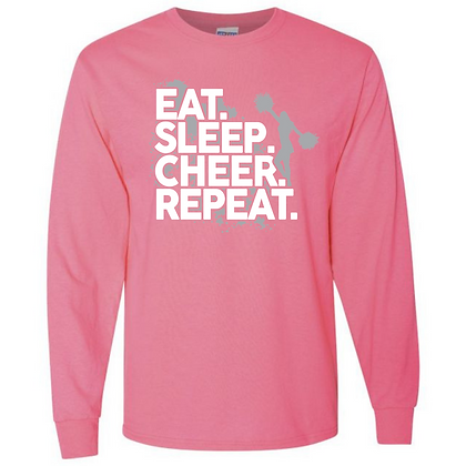 Eat. Sleep. Cheer. Repeat. Unisex Long Sleeve T-Shirt