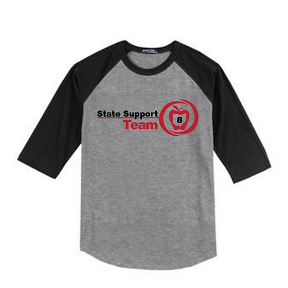 State Support Team Full Front Baseball Tee
