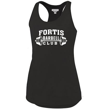Fortis Weightlifting Barbell Club Logo D (White Logo) Ladies Tank