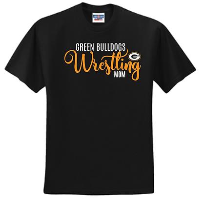 Green Bulldogs Wrestling Unisex T-Shirt Glitter Logo A (Mom)
