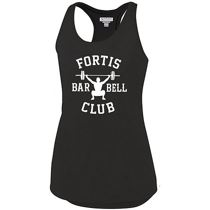 Fortis Weightlifting Barbell Club Logo B (White Logo) Ladies Tank