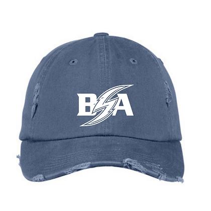Blue Storm Athletics Logo (White) Distressed Ball Cap