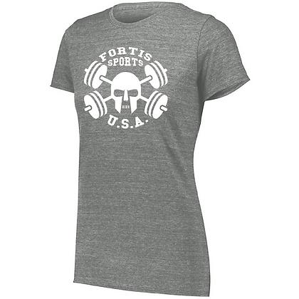 Fortis Sports USA  B (White Logo) Ladies Tri-blend T-Shirt