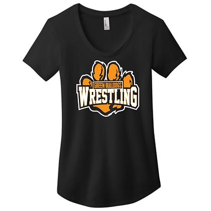 Green Bulldogs Wrestling Ladies Scoop Neck Logo D