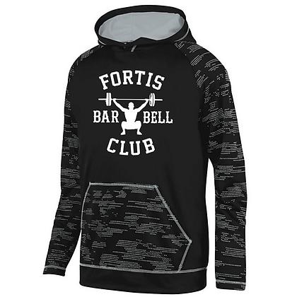 Fortis Weightlifting Barbell Logo B (White) Sleet Hoodie