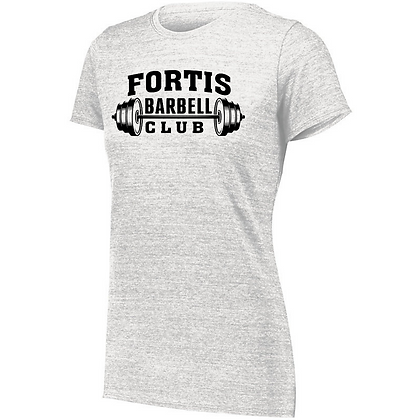 Fortis Weightlifting Barbell Club D (Black Logo) Ladies Tri-blend T-Shirt