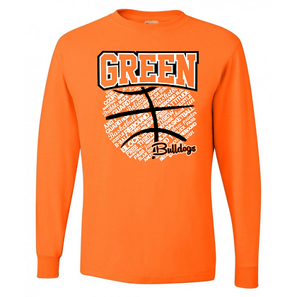 Green Bulldogs Basketball Logo #26 Unisex Long Sleeve T-Shirt