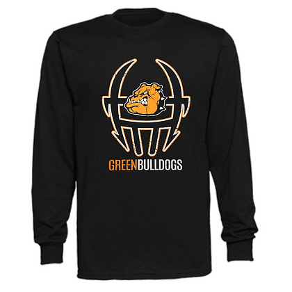 Green Bulldogs Football Logo #39 Unisex Long Sleeve T-Shirt