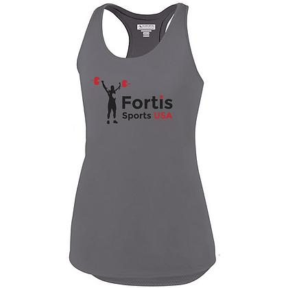 Fortis Sports USA Logo (Black & Red) Ladies Tank