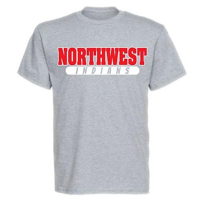 Northwest Indians Red and White Block Logo Unisex T-Shirt