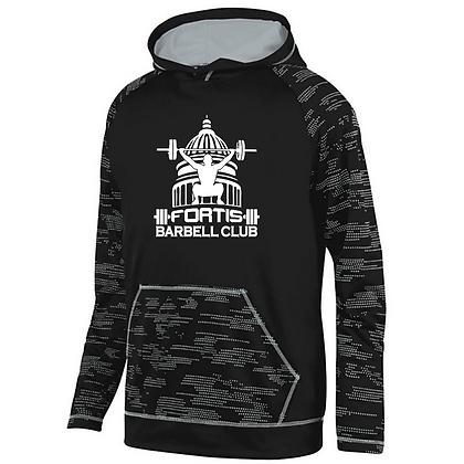 Fortis Weightlifting Barbell Logo (White) Sleet Hoodie