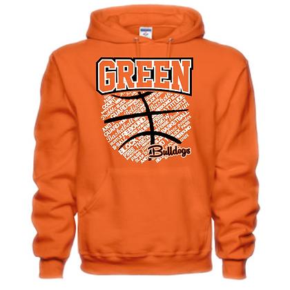 Green Bulldogs Basketball Logo #26 Unisex Hoodie