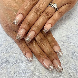 Rose gold ombre on glass nails.. Obsesse