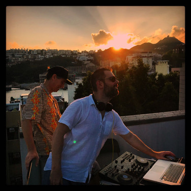 80s 90s rooftop party funky frank sun set.JPG