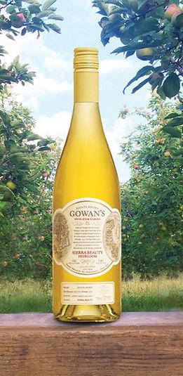 Sierra Beauty applewine cider bottle in orchard
