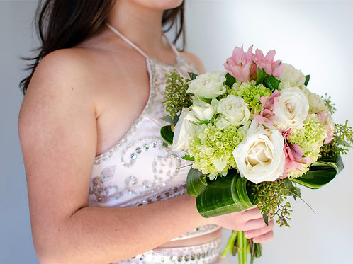 Pink & White Prom Bouquet
