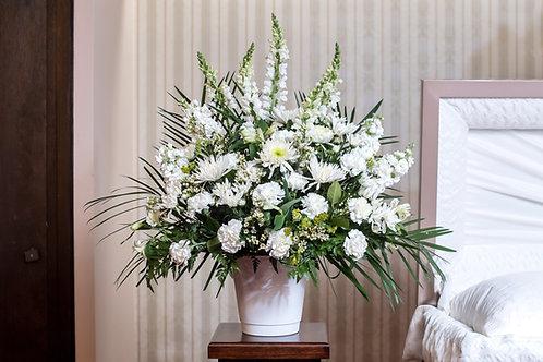 White Mix Funeral Basket