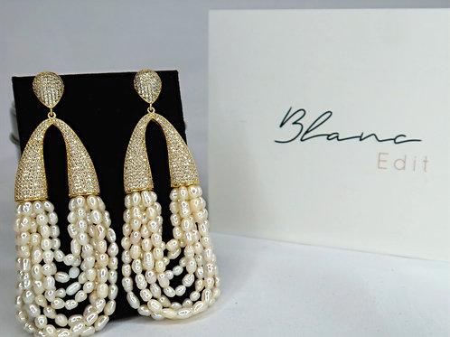 Blanc Edit - Pearl Loop Drop Earrings