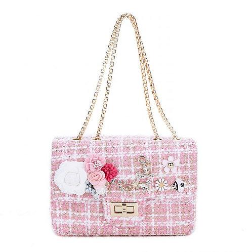 Embellished pink Tweed bag