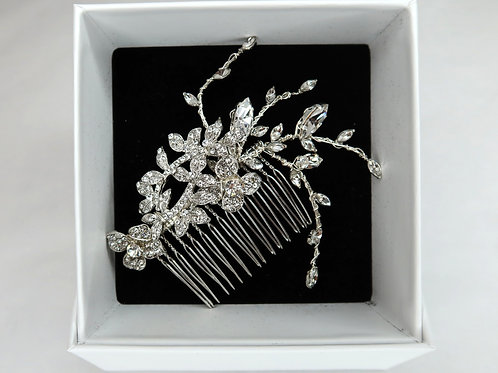 Silver Crystal Vine Comb
