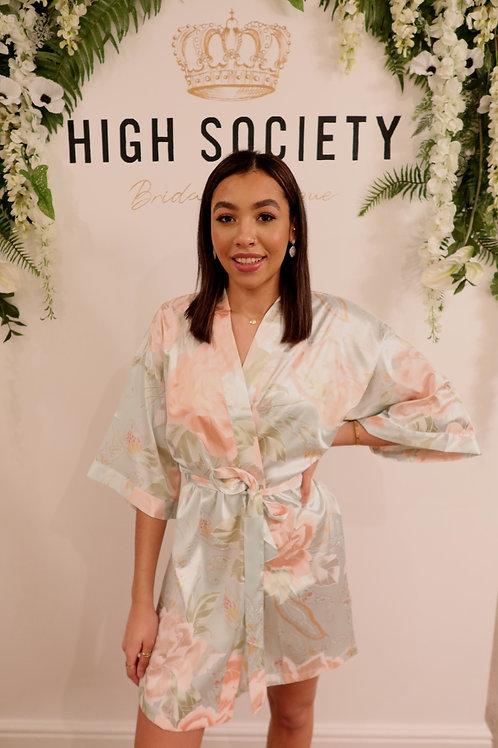 Floral vintage satin robe
