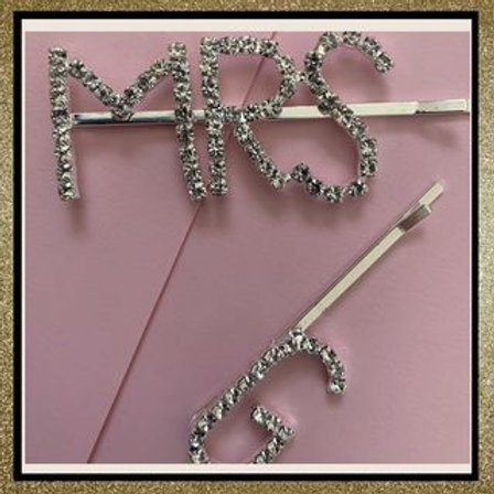 Mrs + Initial hair clips