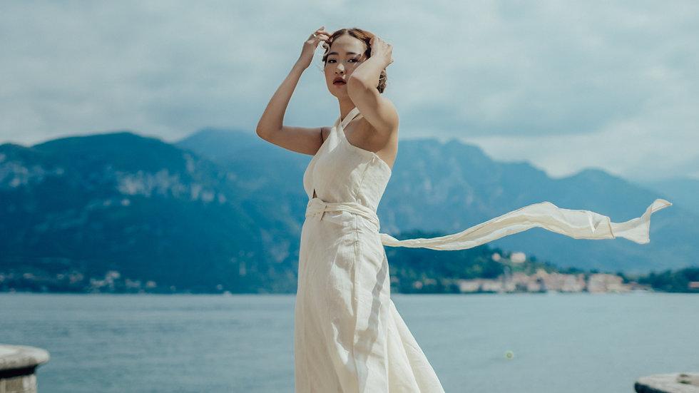 Pearl Cut-Out Midi Dress