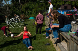 Family gathering outdoors