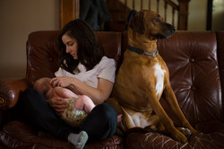Nursing Mother and dog sit on couch together