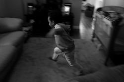 Toddler running in living room