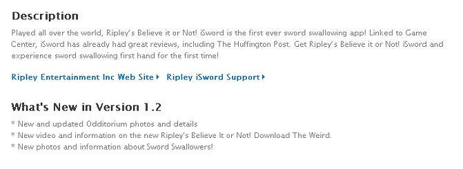 FREE Ripley iSword App, featuring Sword Swallower Dan Meyer