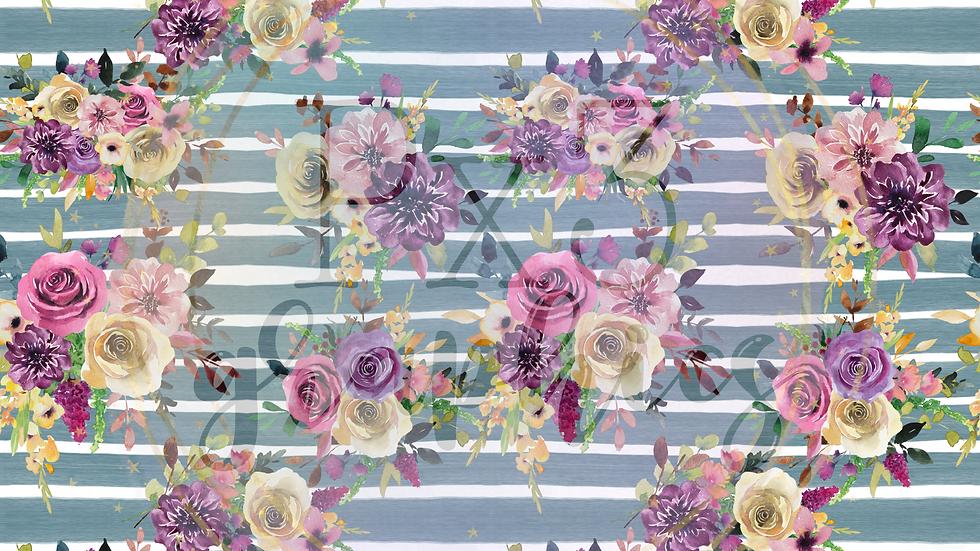 Mauve floral stripes