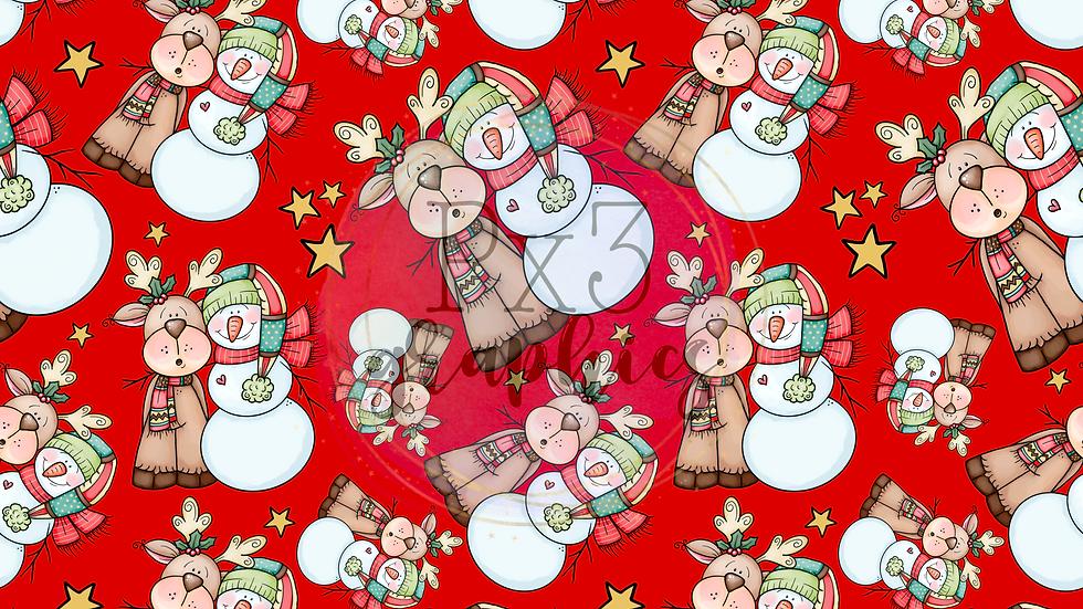 Snowman & reindeer - red