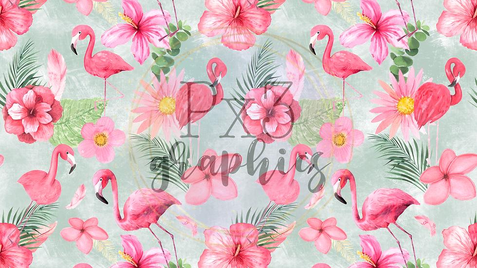 Flamingos - green grunge