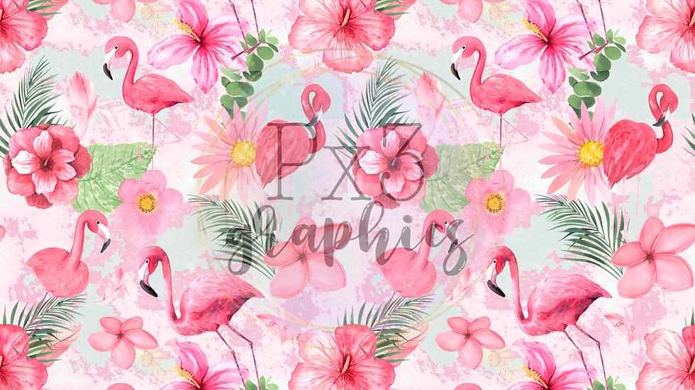 Flamingos - pink & green grunge