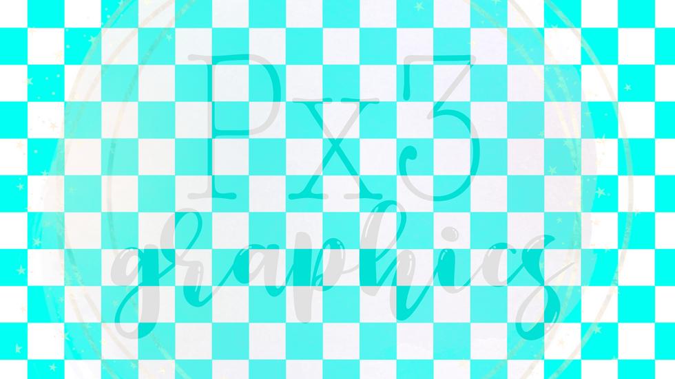 Aqua & white checkered
