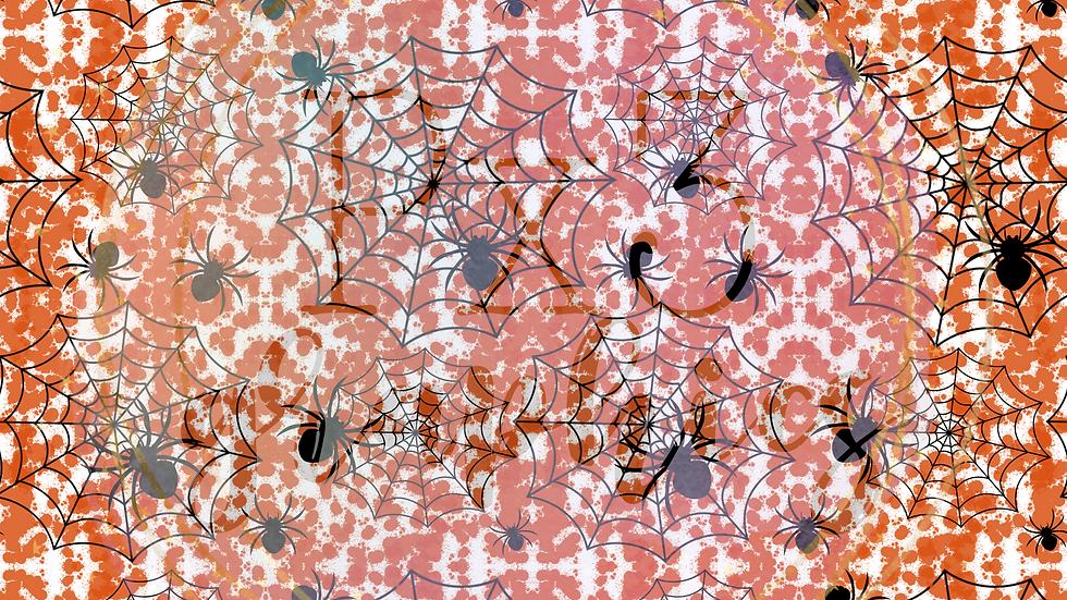 Webs with orange splatter