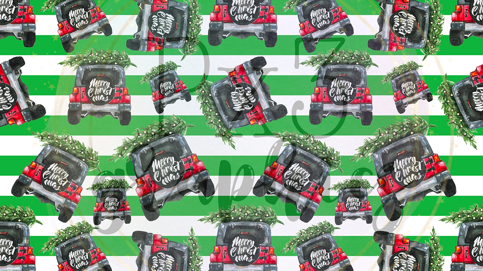 Merry Christmas Jeep - green