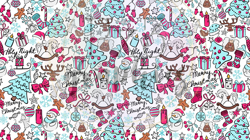 Pink Christmas doodles