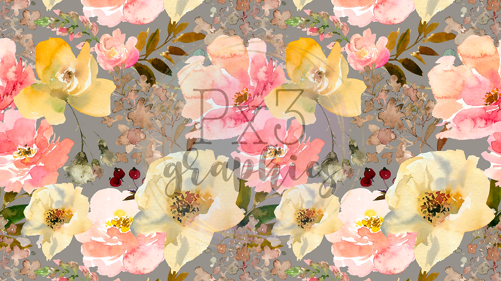 Coral & pale yellow floral