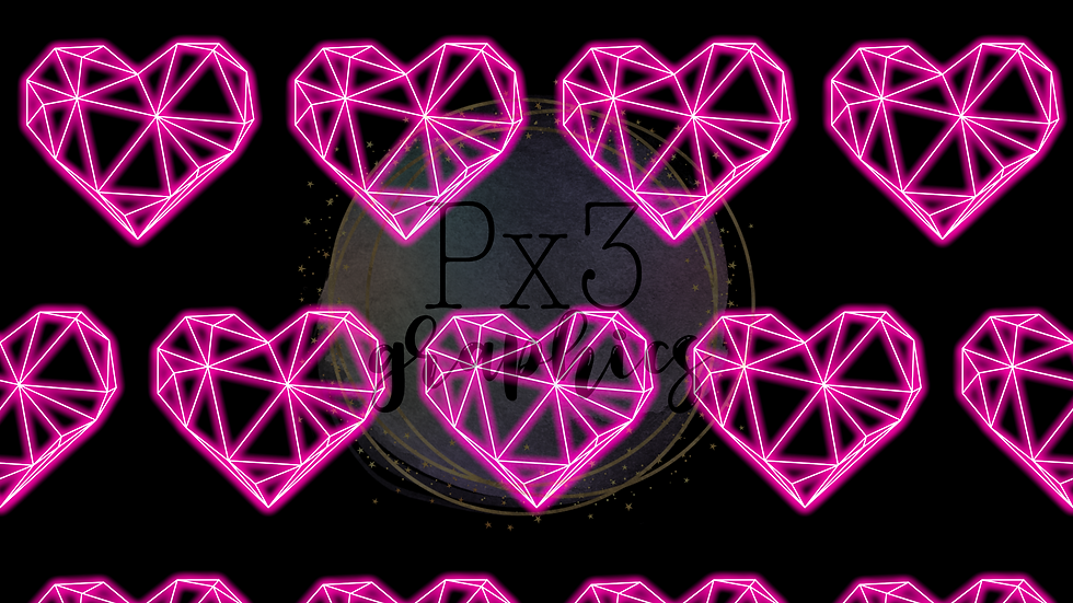 Neon abstract hearts