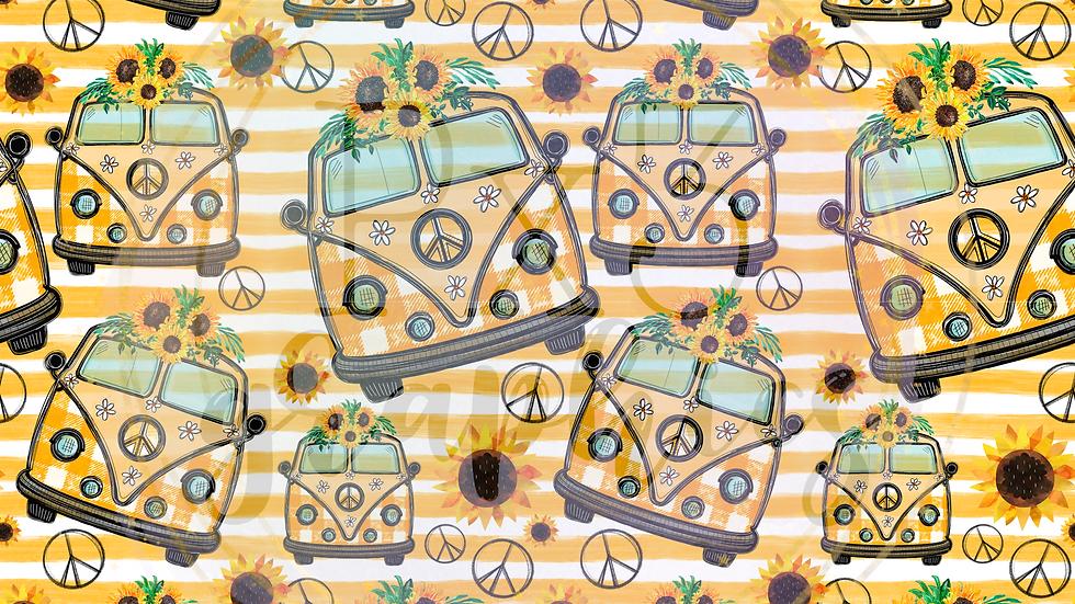 Sunflower hippie van stripes