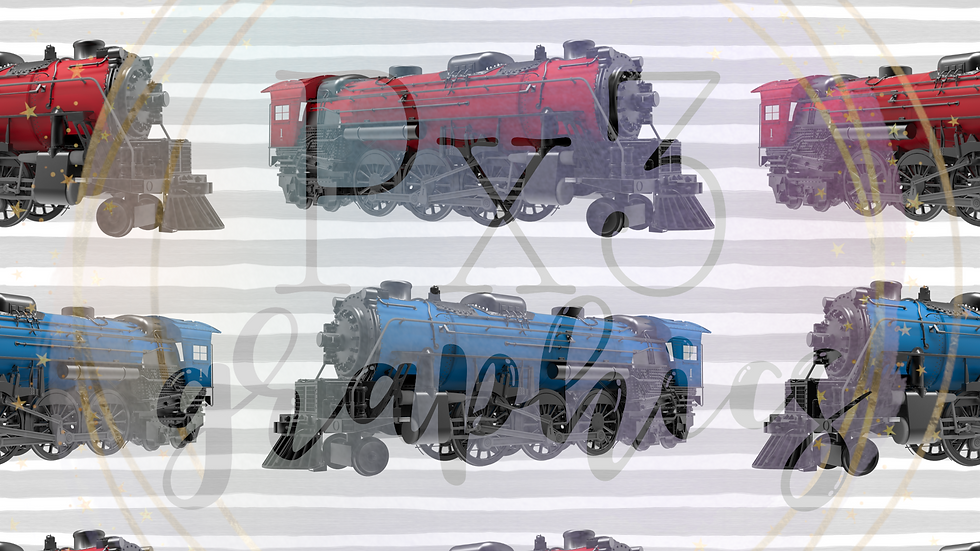 Blue & red trains