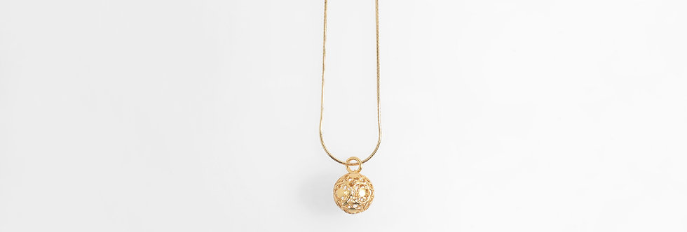 Gold Plated Ornamental Ball Pendant on Chain