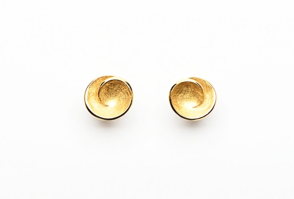 Gold Spiral Circle Earrings